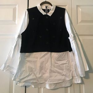 ELLE mock layered blouse w/ sequin embellishments